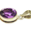 Sterling Silver Amethyst Faceted Oval Pendant - Crystal Dreams