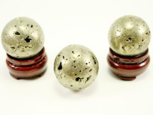 Polished Pyrite Crystal Spheres With Wooden Base Included -100% Natural