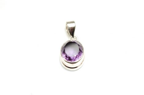 100% Sterling Silver Amethyst Gemstone Pendant