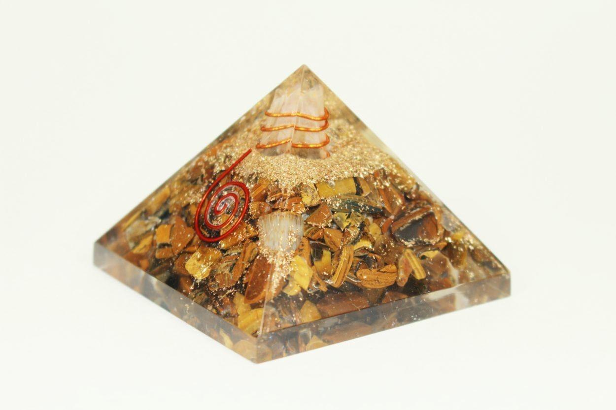 Crystal Dreams Orgonite Pyramid - Tiger Eye