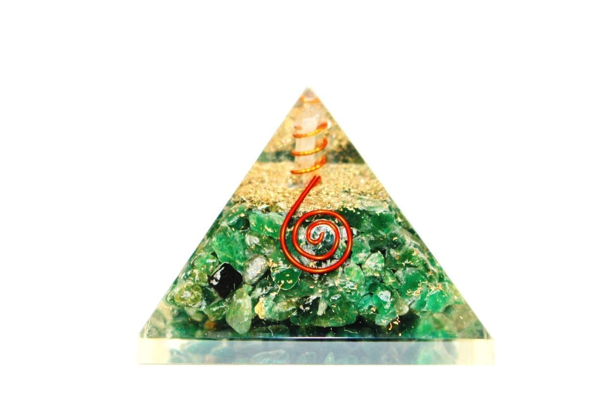 Crystal Dreams Orgonite Pyramid - Green Jade