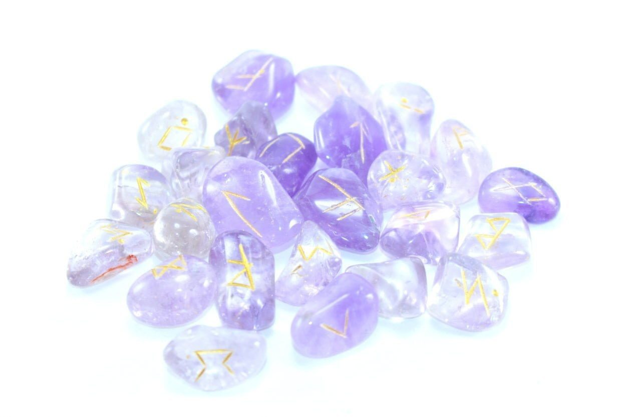 Crystal Dreams World Amethyst Runes Set Engraved With Gold Filling 2