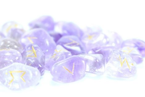 Crystal Dreams World Amethyst Runes Set Engraved With Gold Filling 1
