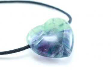 """Crystal Dreams Necklace With """"Rainbow"""" Fluorite Crystal Heart Pendant"""