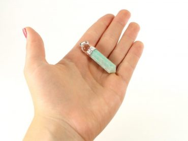 Crystal Dreams 100% Authentic Amazonite Gemstone Pendant With Clear Quartz Amplifier