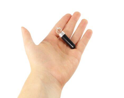 Black Tourmaline & Clear Quartz Pendant