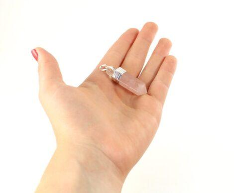 Crystal Dreams 100% Authentic Rose Quartz Gemstone Pendant With Clear Quartz Amplifier