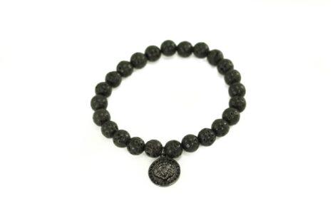Crystal Dreams Jewelry Lava Stone Helmet Charm Bracelet in Black