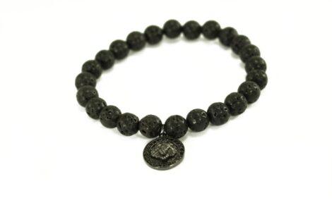 Crystal Dreams Jewelry Lava Stone Medallion Charm Bracelet in Black