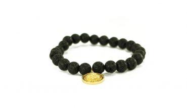 Crystal Dreams Jewelry Lava Stone Medallion Charm Bracelet in Gold