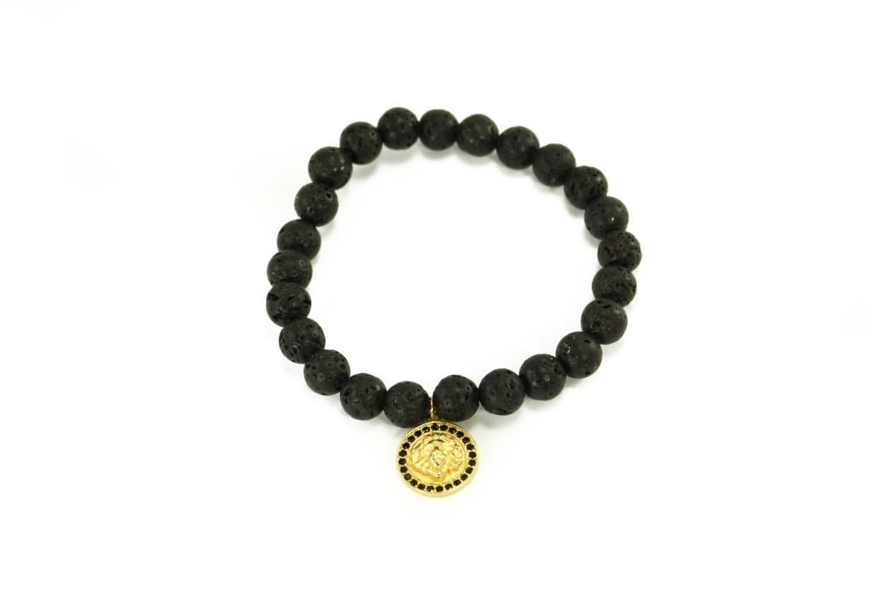 Crystal Dreams Jewelry Lava Stone Medallion Charm Bracelet in Gold
