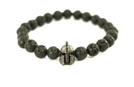 Crystal Dreams Jewelry Lava Stone Helmet Charm Bracelet in Black