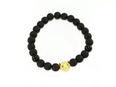 Crystal Dreams offers various Jewelry Lava Stone Bracelet Embellished with a Gold Jaguar Accent