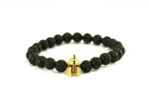 Crystal Dreams Jewelry Lava Stone Helmet Charm Bracelet in Gold
