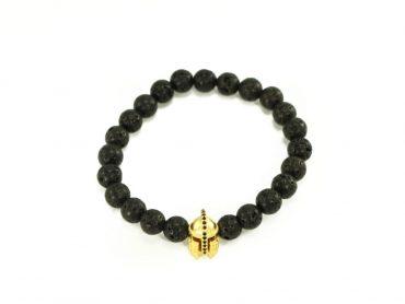 Crystal Dreams Jewelry Lava Stone Helmet Charm Bracelet in Gold