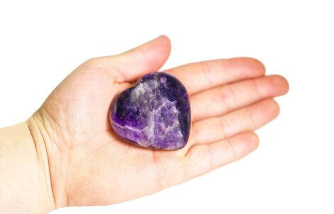 Amethyst Puffy Heart (hand) - Crystal Dreams