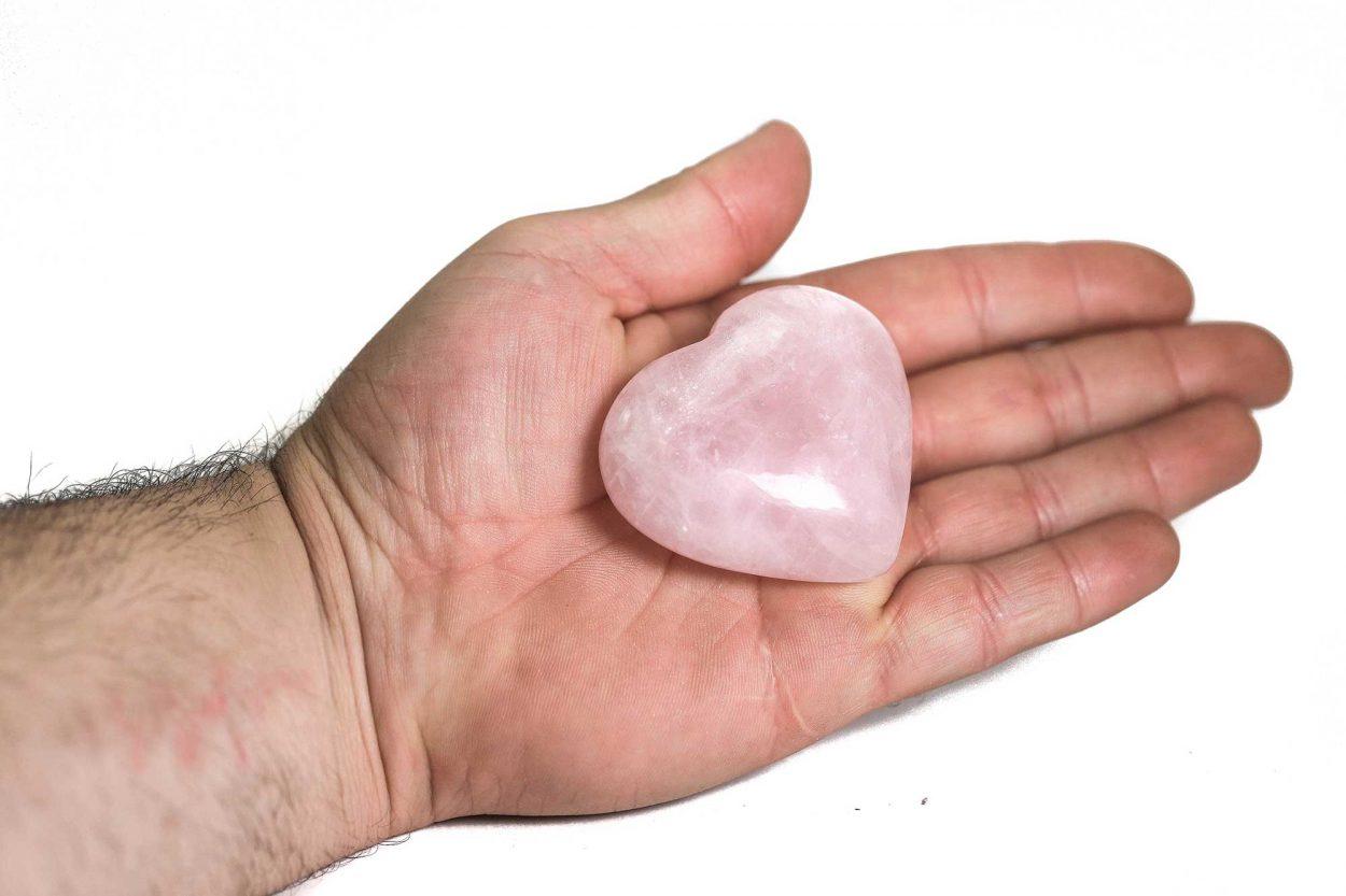 Rose Quartz Puffy Heart 1