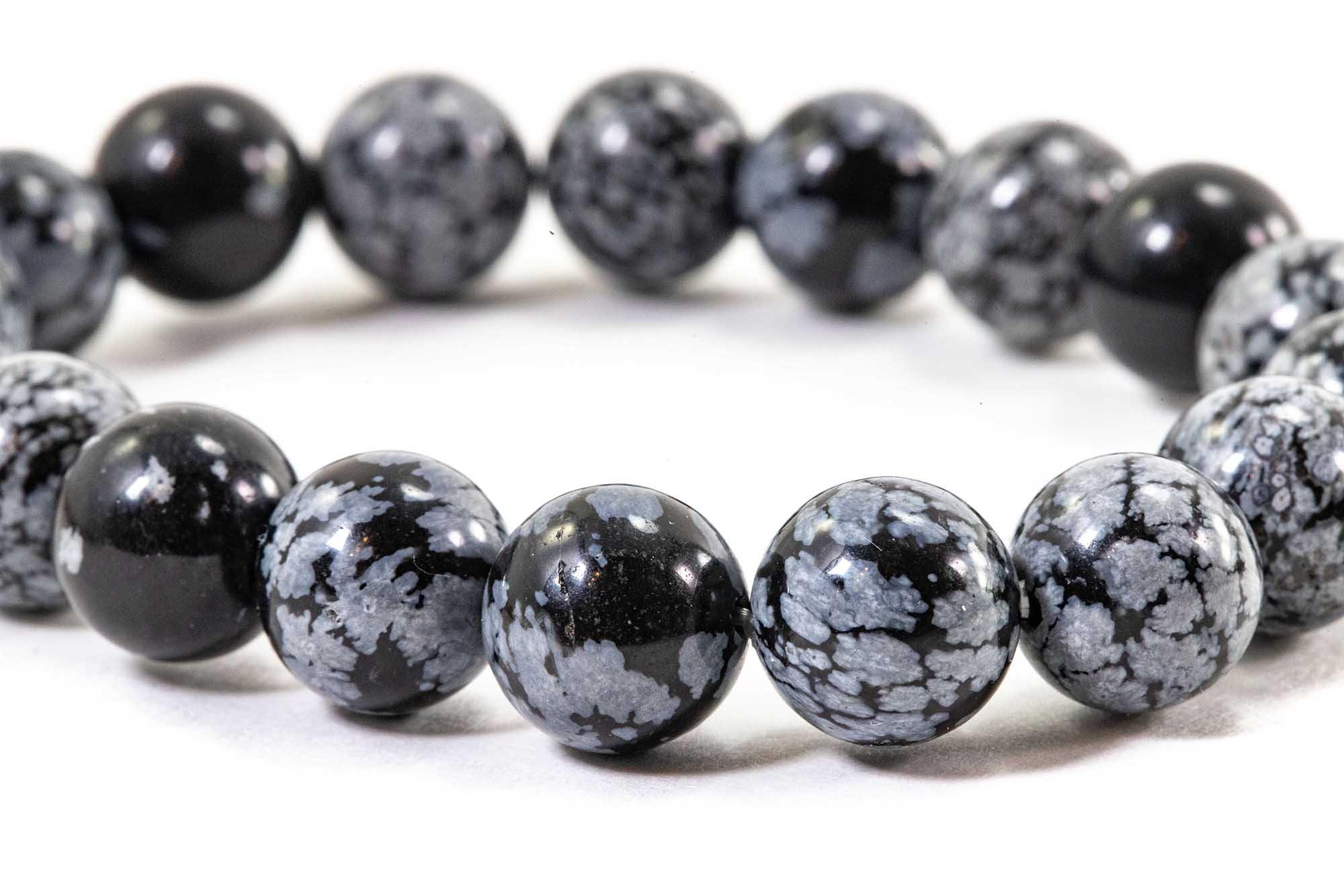 Snowflake Obsidian Bracelet 10mm Or