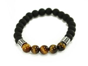 Black Agate Bracelet with 3 Golden Spheres (Copy) 1