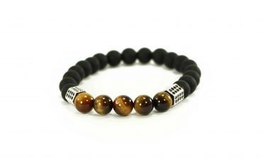 Black Agate Bracelet with 3 Golden Spheres (Copy)