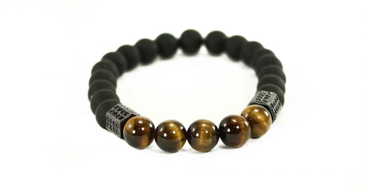 Black Agate Bracelet with Tiger Eye Beads and Golden Charms (Copy)