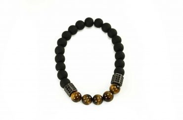 Black Agate Bracelet with Tiger Eye Beads and Golden Charms (Copy) 1