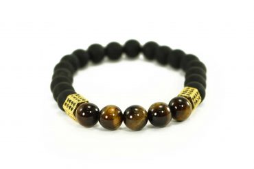 Black Agate Bracelet with Tiger Eye Beads and Silver Charms (Copy) 1