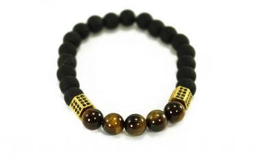 Black Agate Bracelet with Tiger Eye Beads and Silver Charms (Copy)