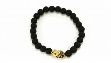 Black Agate Buddha Charm Bracelet in Gold 1