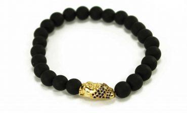 Black Agate Buddha Charm Bracelet in Gold