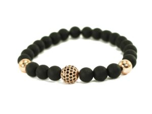 Black Agate Buddha Charm Bracelet in Gold (Copy)