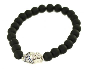 Black Agate Jaguar Charm Bracelet in Silver (Copy) 1