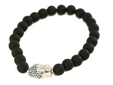 Black Agate Jaguar Charm Bracelet in Silver (Copy) 1