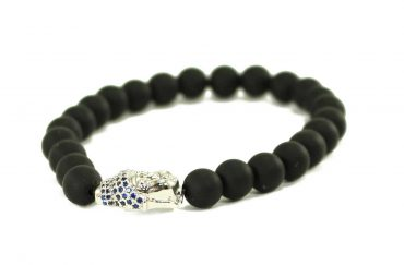 Black Agate Jaguar Charm Bracelet in Silver (Copy)