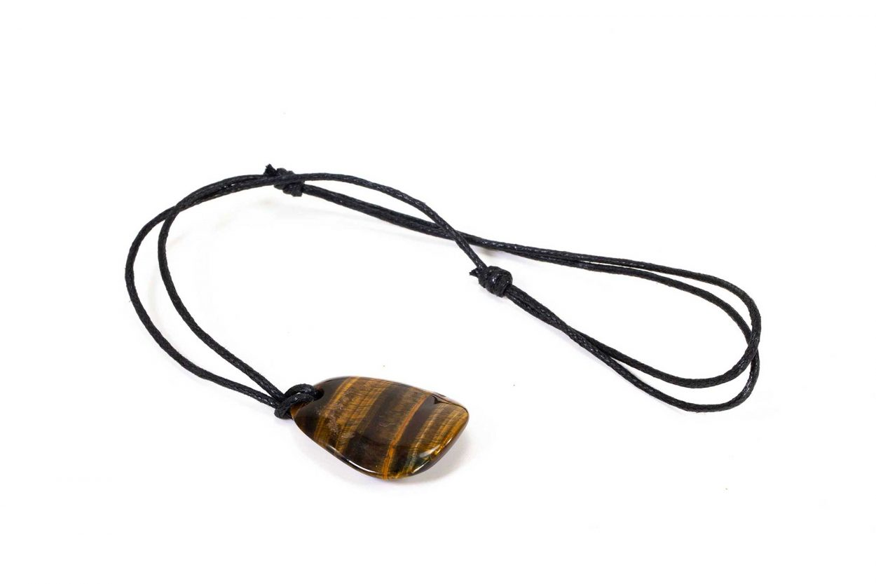 Tiger Eye Crystal Dog Tag Necklace with Cord 1