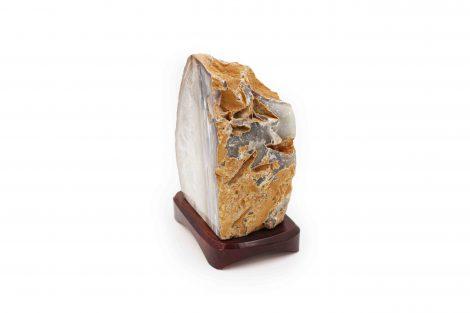 Natural agate lampe wood base - Crystal Dreams