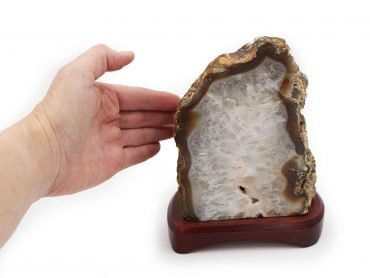 Natural agate lampe wood base - Crystal Dreams
