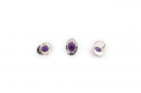 amethyst cabochon sterling silver ring