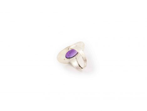 Amethyst cabochon sterling silver ring-Crystal Dreams