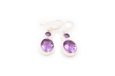 """Amethyst """"double-stone"""" earrings silver - Crystal Dreams"""