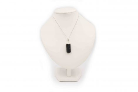 Black Tourmaline Semi-Polished Pendant Sterling Silver - Crystal Dreams