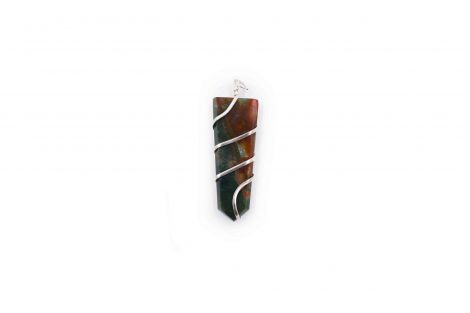 Bloodstone flat spiral pendant from india