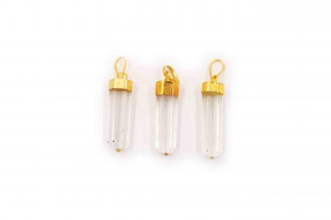 Clear Quartz Golden Pendant- Crystal Dreams