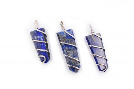 Lapis Lazuli flat spiral pendant