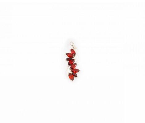 """Garnet """"Leaf"""" Sterling Silver pendant"""