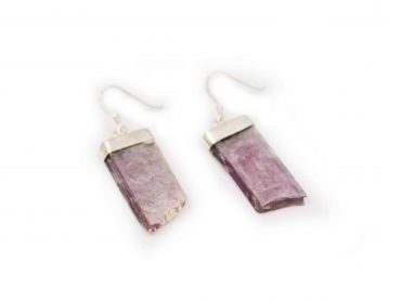 Lepidolite Rough Flat Sterling Silver Earrings - Crystal Dreams