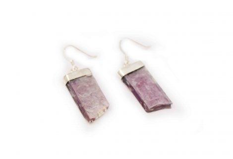 Lepidolite Rough Flat Sterling Silver Earrings - Crystal Dreams
