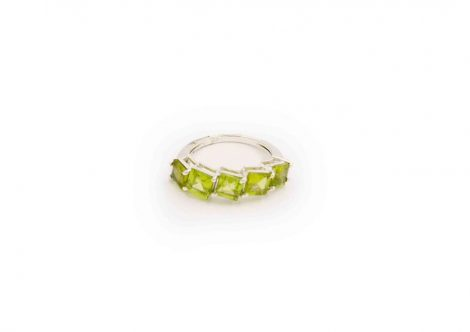 """Peridot""""squares""""sterling silver ring-Crystal Dreams"""