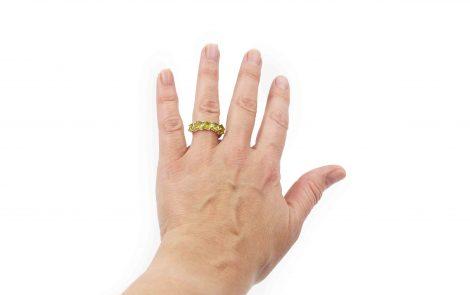 Peridot Squares Sterling Silver Ring