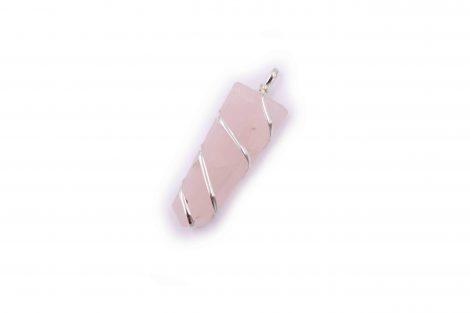 Pink Quartz flat spiral pendant- Crystal Dreams